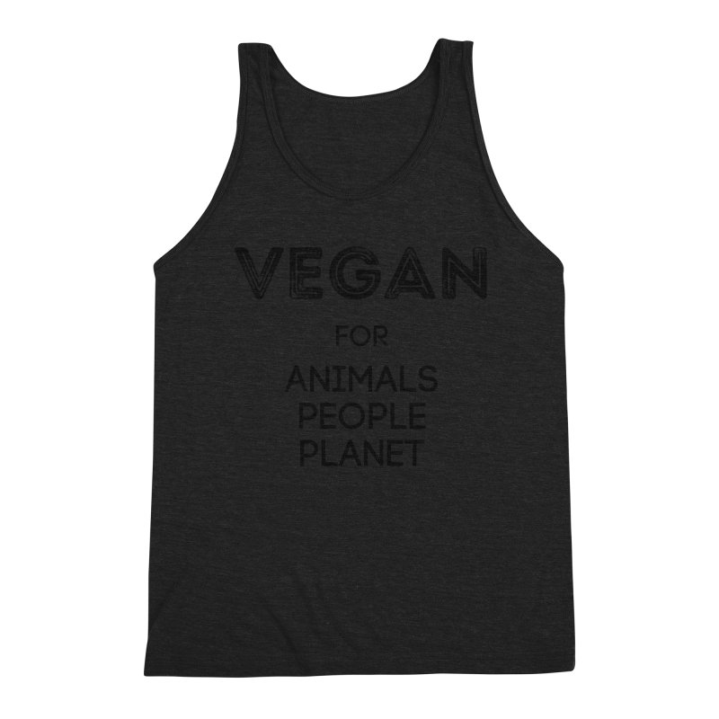 VEGAN FOR ANIMALS PEOPLE PLANET [Style 5] (Black Font) Men's Triblend Tank by That Vegan Couple's Shop