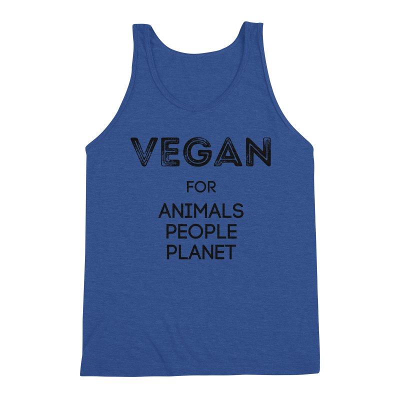 VEGAN FOR ANIMALS PEOPLE PLANET [Style 5] (Black Font) Men's Tank by That Vegan Couple's Shop