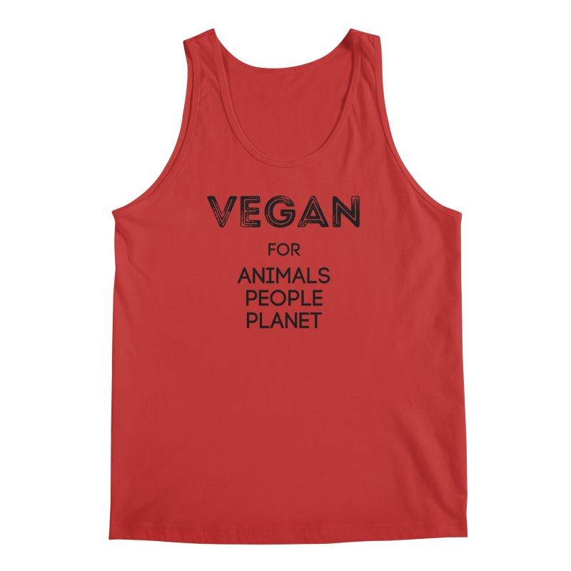 VEGAN FOR ANIMALS PEOPLE PLANET [Style 5] (Black Font) Men's Regular Tank by That Vegan Couple's Shop