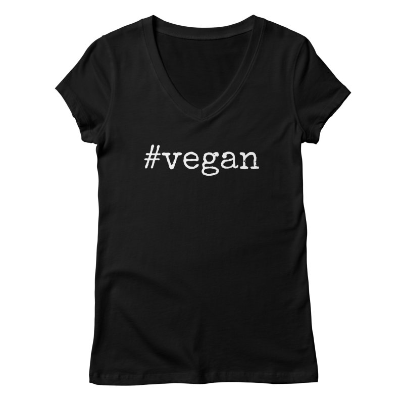 #vegan [Style 2] (White Font) Women's V-Neck by That Vegan Couple's Shop