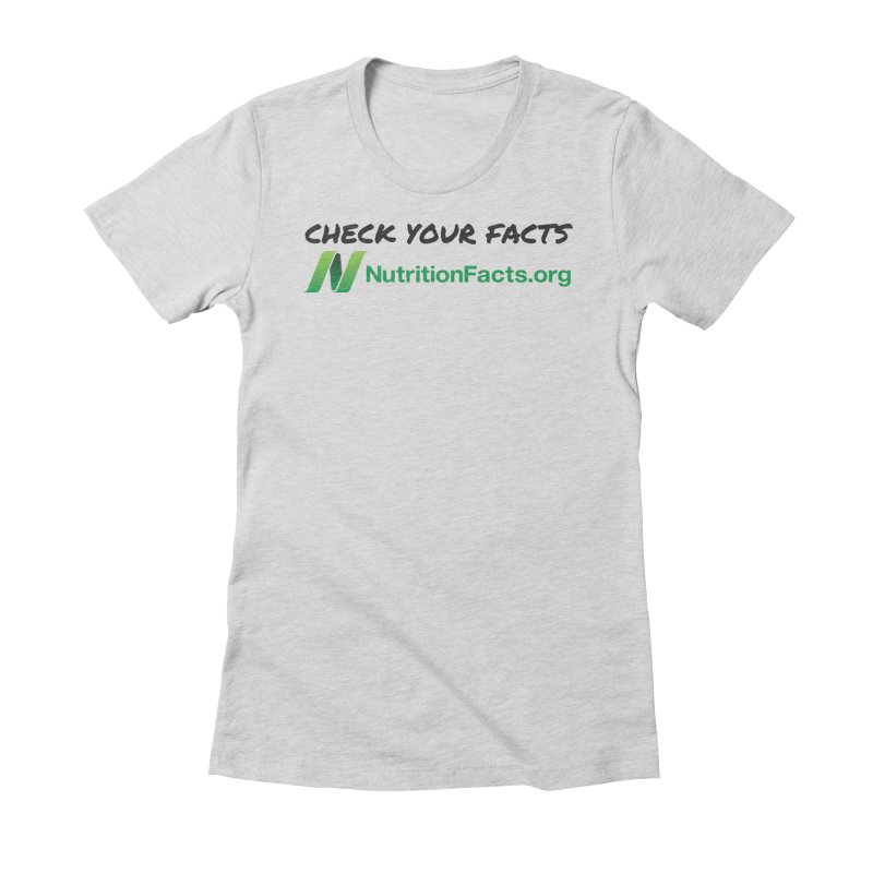 50% of profits for this item will be donated to NutritionFacts.org Women's Fitted T-Shirt by That Vegan Couple's Shop