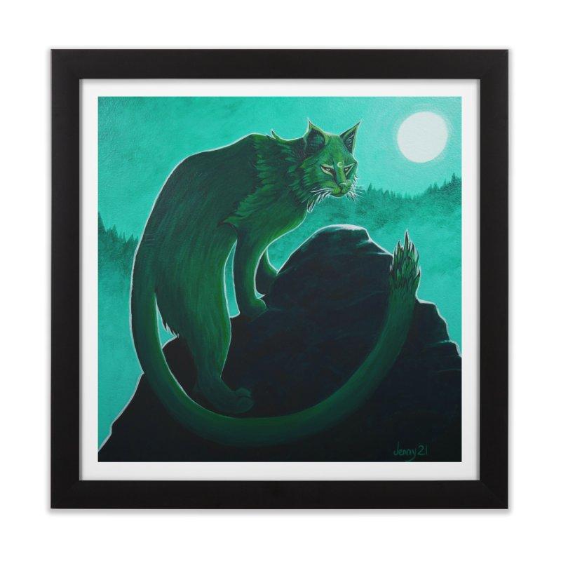 Cactus Cat (Square Art) Home Framed Fine Art Print by artfulworldofjennylynn's Artist Shop