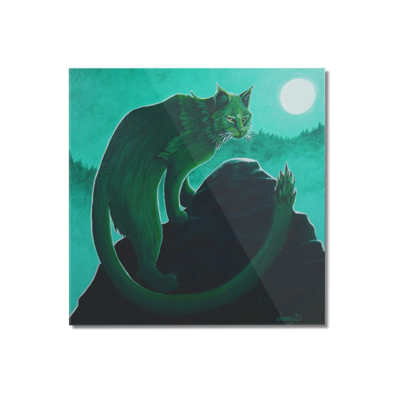 Cactus Cat (Square Art) Home Mounted Acrylic Print by artfulworldofjennylynn's Artist Shop