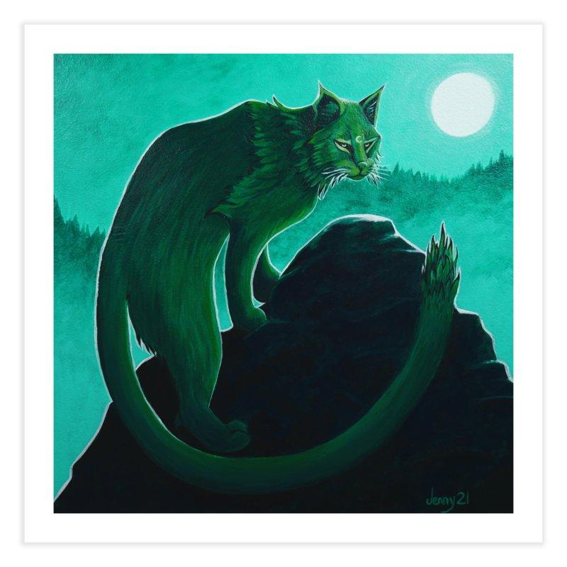 Cactus Cat (Square Art) Home Fine Art Print by artfulworldofjennylynn's Artist Shop