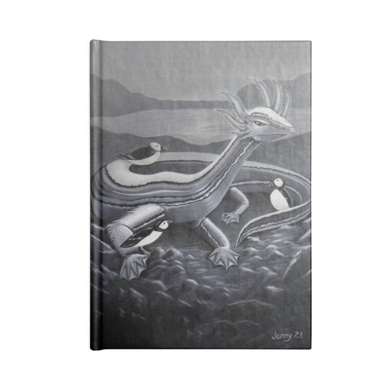 Loch-Ness Monster (black and white) Accessories Notebook by artfulworldofjennylynn's Artist Shop