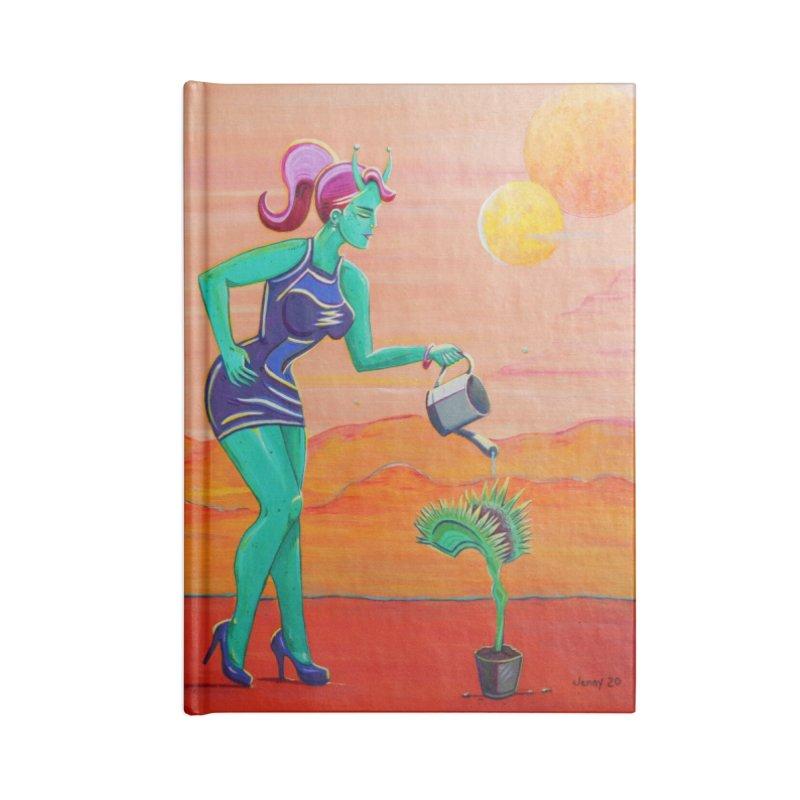 Martian Girl Pin-Up & Venus Fly Trap Accessories Notebook by artfulworldofjennylynn's Artist Shop