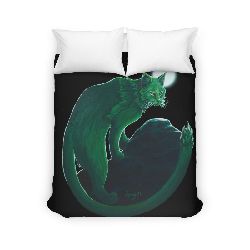 """GREEN CACTUS CAT The """"Cool Cryptids"""" Collection Merchandise Home Duvet by artfulworldofjennylynn's Artist Shop"""