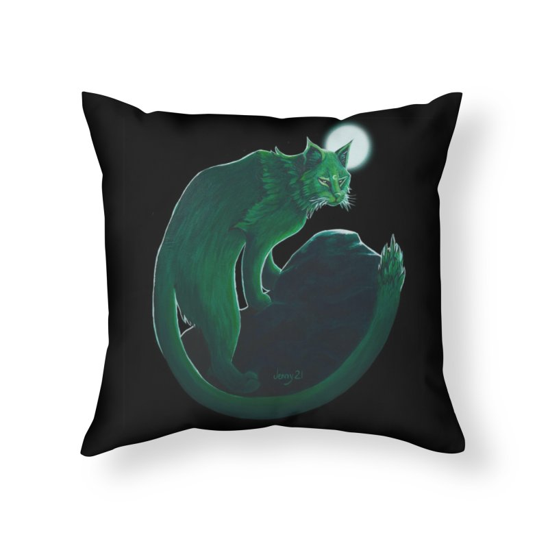 """GREEN CACTUS CAT The """"Cool Cryptids"""" Collection Merchandise Home Throw Pillow by artfulworldofjennylynn's Artist Shop"""
