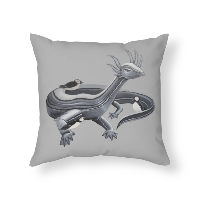 """BLACK & WHITE LOCH NESS MONSTER The """"Cool Cryptids"""" Collection Merchandise Home Throw Pillow by artfulworldofjennylynn's Artist Shop"""