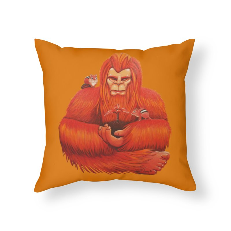 """ORANGE BIGFOOT The """"Cool Cryptids"""" Collection Merchandise Home Throw Pillow by artfulworldofjennylynn's Artist Shop"""