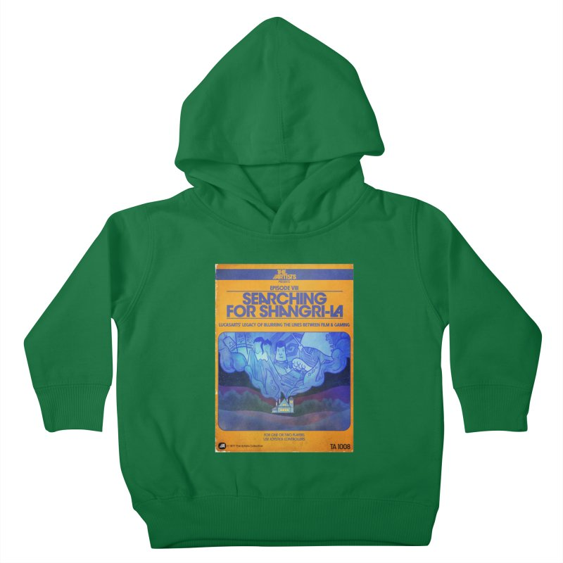 Box Art Apparel Series: Searching for Shangri-La in Kids Toddler Pullover Hoody Kelly Green by The Artists