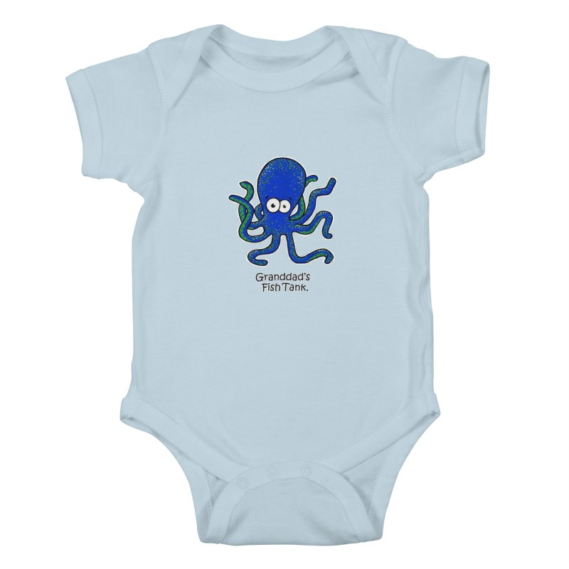 Granddad's Fish Tank - Squiggles The Octopus Kids Baby Bodysuit by The Art of Adz