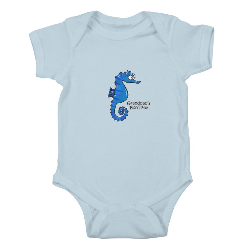 Granddad's Fish Tank - Seymour The Seahorse in Kids Baby Bodysuit Baby Blue by The Art of Adz
