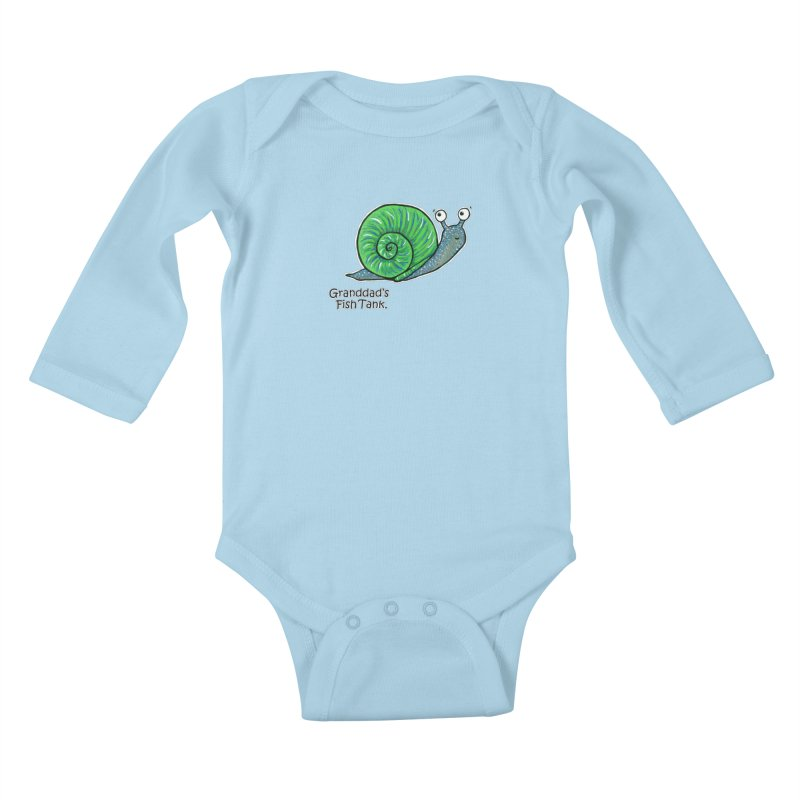 Granddad's Fish Tank - Sammy The Snail Kids Baby Longsleeve Bodysuit by The Art of Adz
