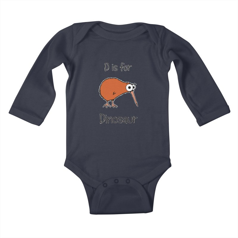 S is for Science - Dinosaur (kiwi) in Kids Baby Longsleeve Bodysuit Midnight by The Art of Adz