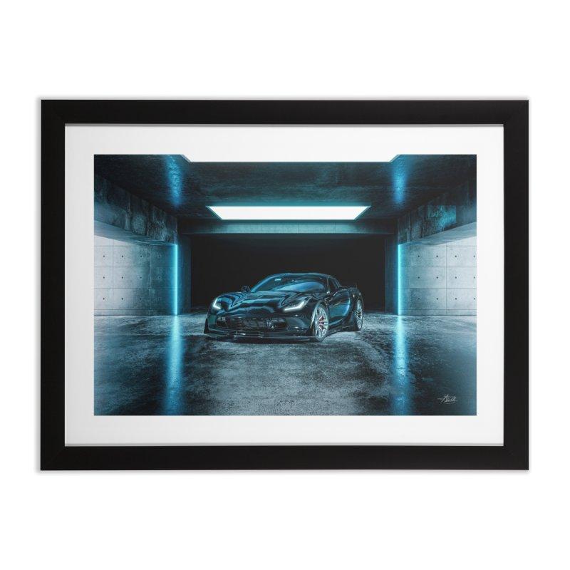 Z06 Corvette Electric Blue Home Framed Fine Art Print by The ART of CAR