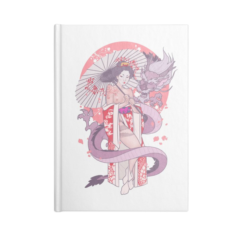 The Gueisha and The Dragon Accessories Lined Journal Notebook by The Art of Lucas Silva