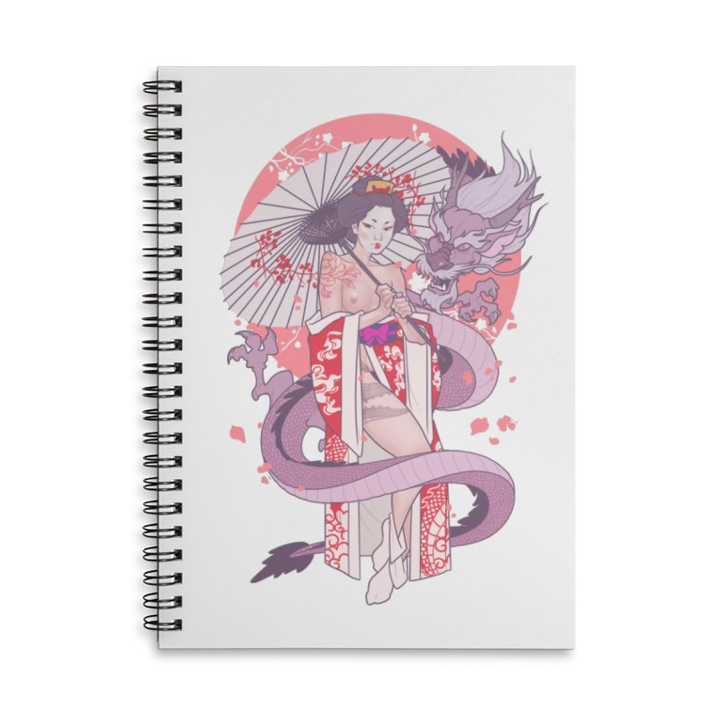 The Gueisha and The Dragon Accessories Lined Spiral Notebook by The Art of Lucas Silva