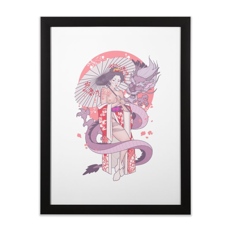 The Gueisha and The Dragon Home Framed Fine Art Print by The Art of Lucas Silva