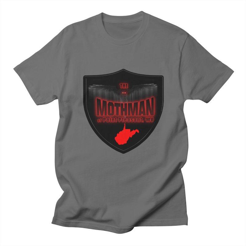 Mothman Pt Pleasant Blk Shield Men's T-Shirt by theartofron's Artist Shop
