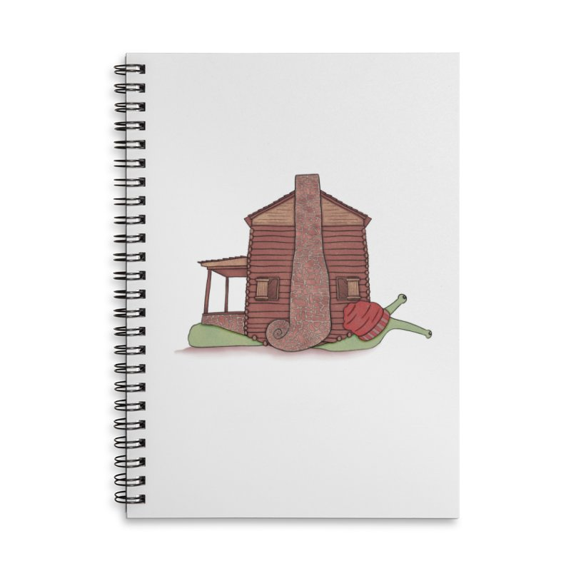 Cabin Snail Accessories Lined Spiral Notebook by The Art of Rosemary