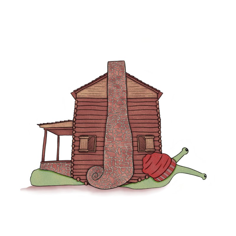 Cabin Snail Accessories Sticker by The Art of Rosemary