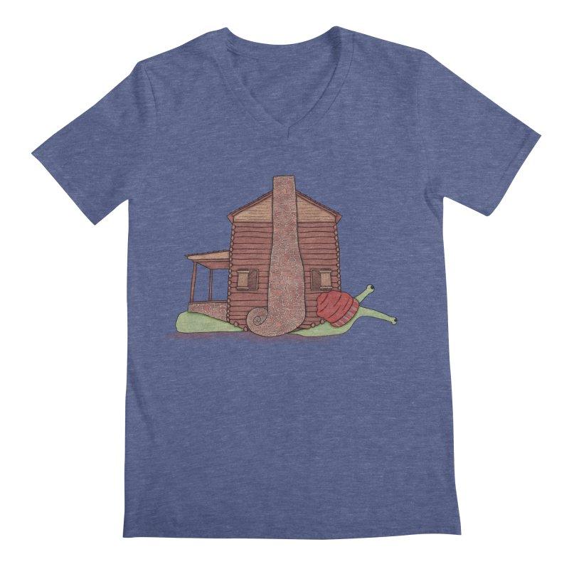 Cabin Snail Men's Regular V-Neck by The Art of Rosemary