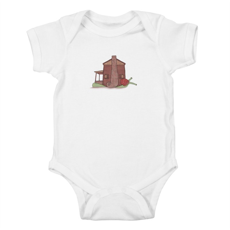 Cabin Snail Kids Baby Bodysuit by The Art of Rosemary