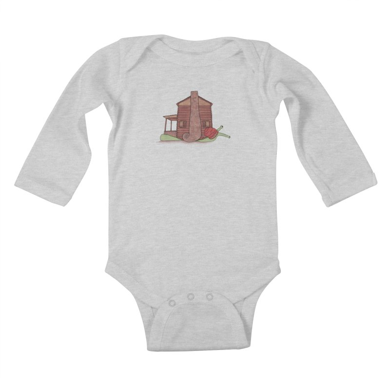 Cabin Snail Kids Baby Longsleeve Bodysuit by The Art of Rosemary