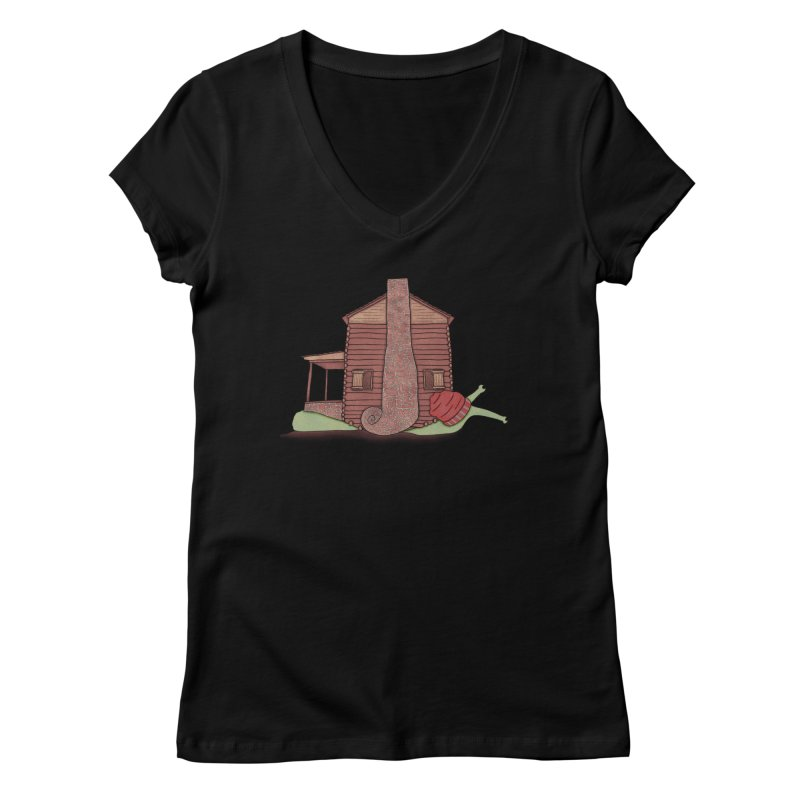 Cabin Snail Women's Regular V-Neck by The Art of Rosemary