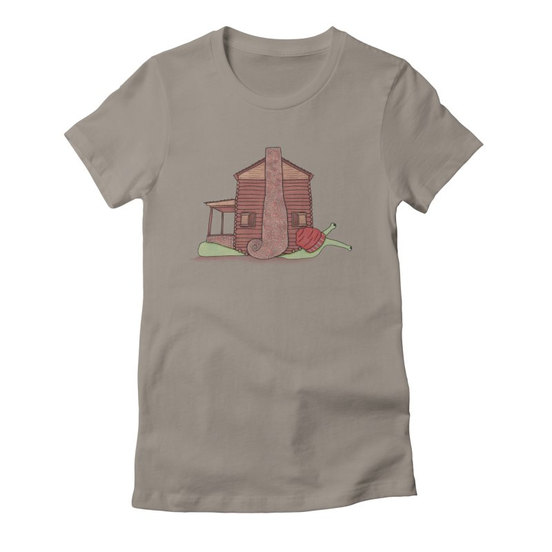 Cabin Snail Women's Fitted T-Shirt by The Art of Rosemary