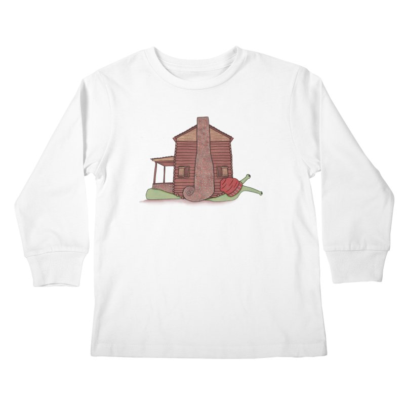 Cabin Snail Kids Longsleeve T-Shirt by The Art of Rosemary