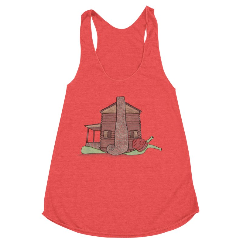 Cabin Snail Women's Racerback Triblend Tank by The Art of Rosemary