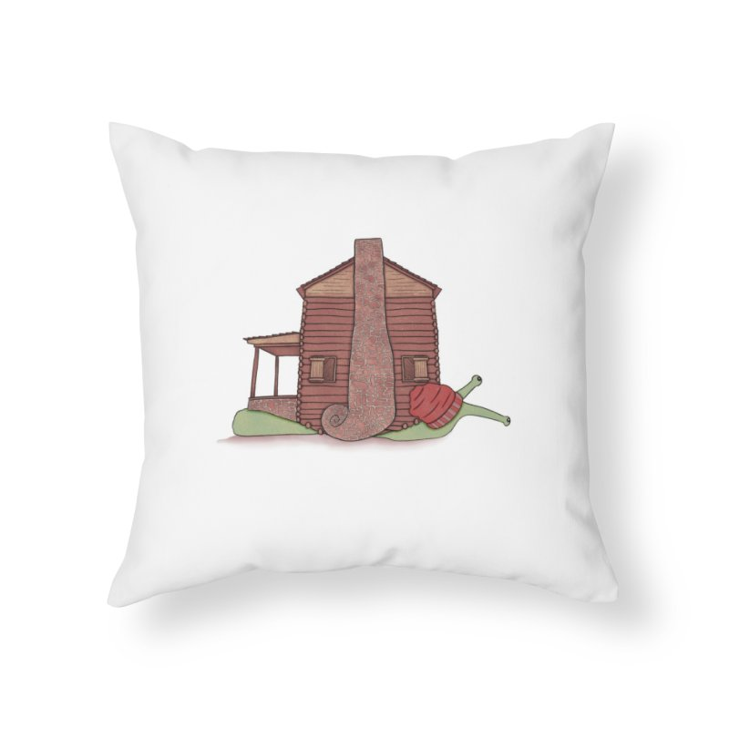 Cabin Snail Home Throw Pillow by The Art of Rosemary