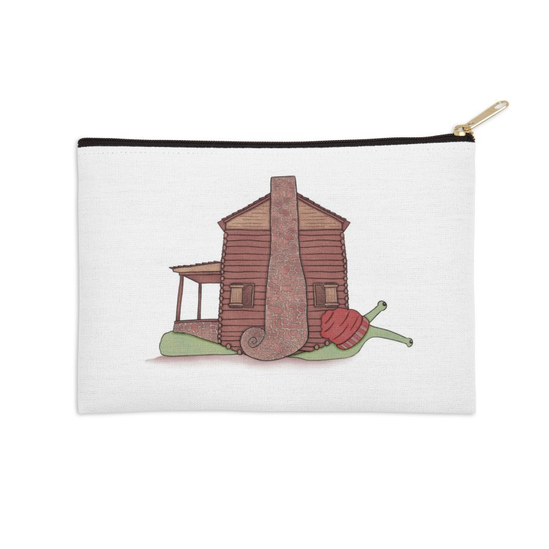 Cabin Snail Accessories Zip Pouch by The Art of Rosemary