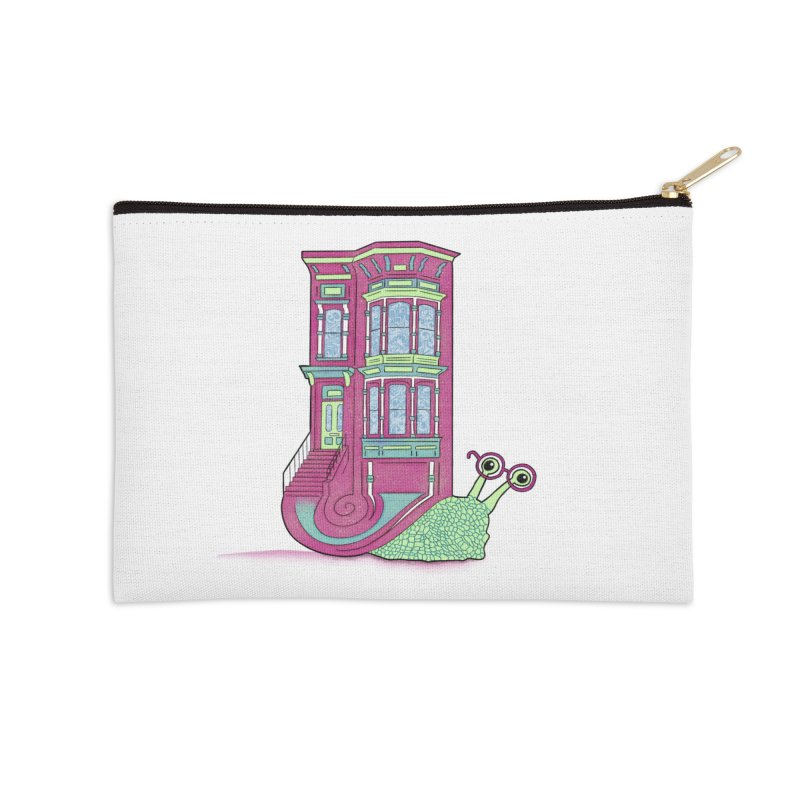 Townhouse Snail Accessories Zip Pouch by The Art of Rosemary