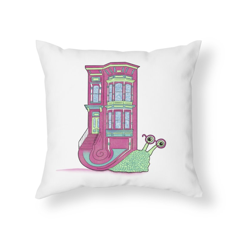 Townhouse Snail Home Throw Pillow by The Art of Rosemary