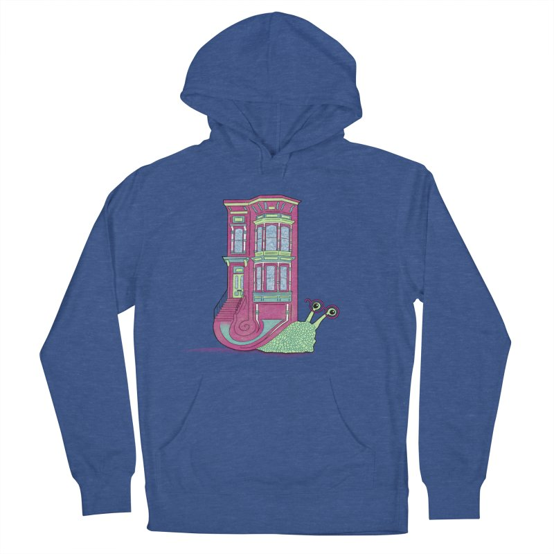 Townhouse Snail Men's French Terry Pullover Hoody by The Art of Rosemary