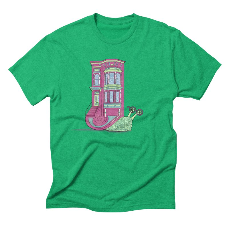 Townhouse Snail Men's Triblend T-Shirt by The Art of Rosemary