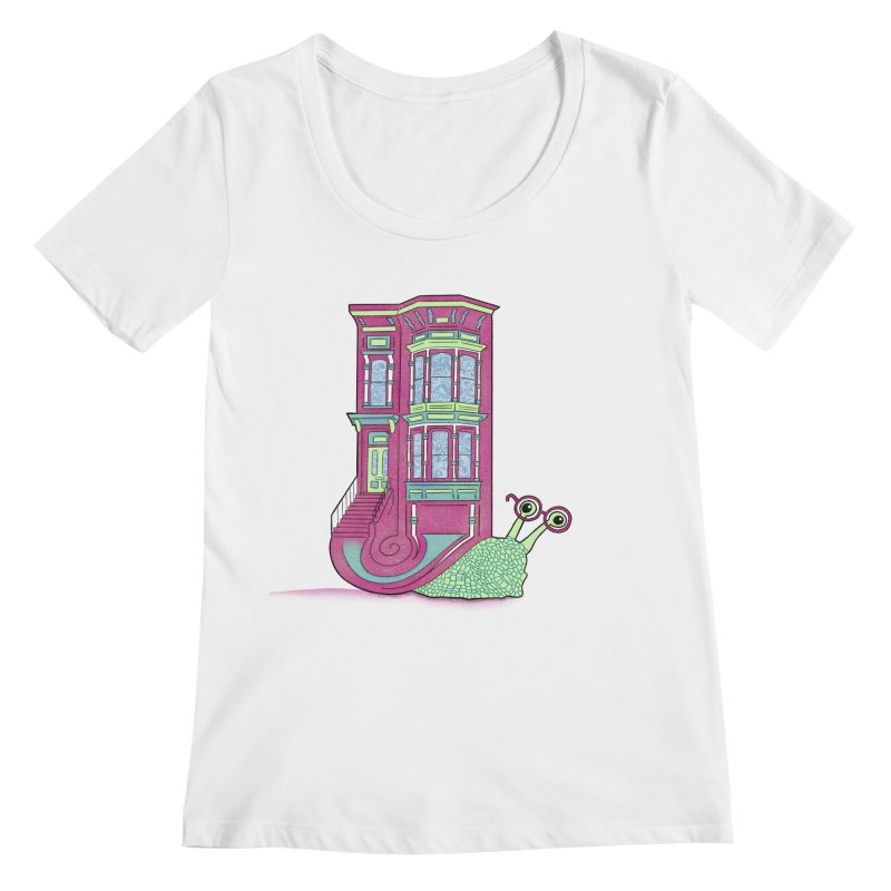 Townhouse Snail Women's Regular Scoop Neck by The Art of Rosemary