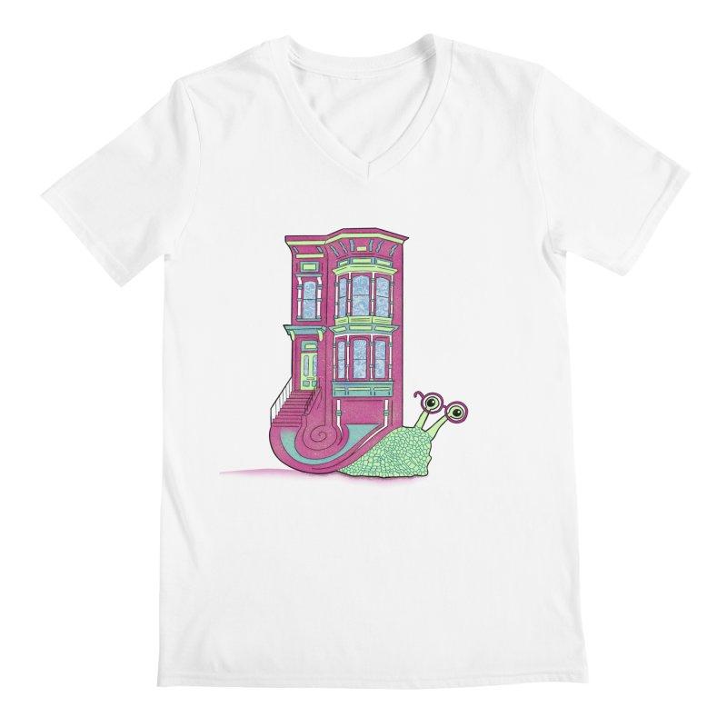 Townhouse Snail Men's Regular V-Neck by The Art of Rosemary