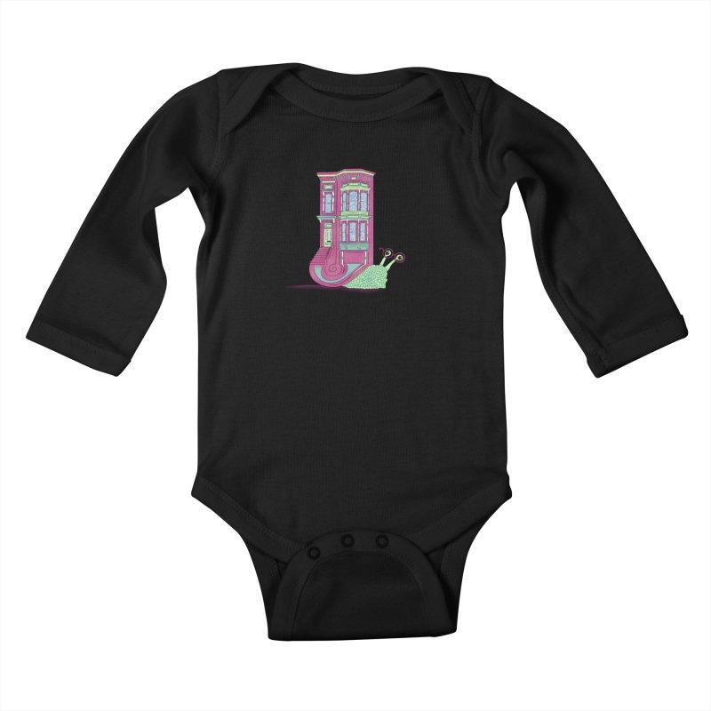 Townhouse Snail Kids Baby Longsleeve Bodysuit by The Art of Rosemary
