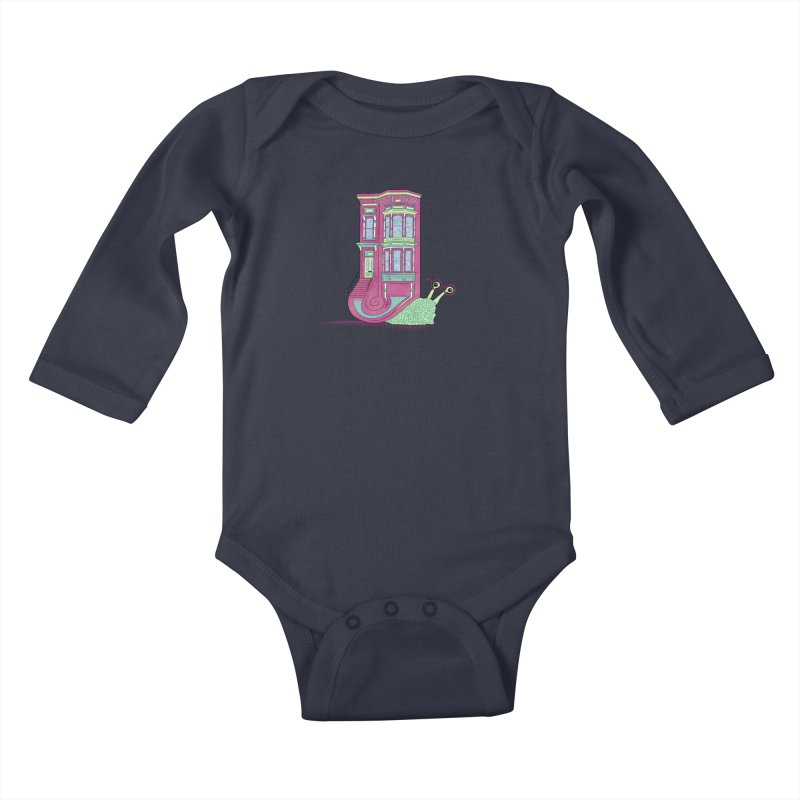 Townhouse Snail Kids Baby Longsleeve Bodysuit by The Art of Rosemary
