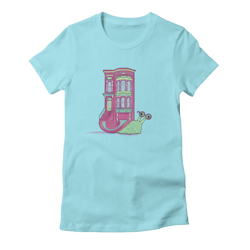 Townhouse Snail Women's Fitted T-Shirt by The Art of Rosemary