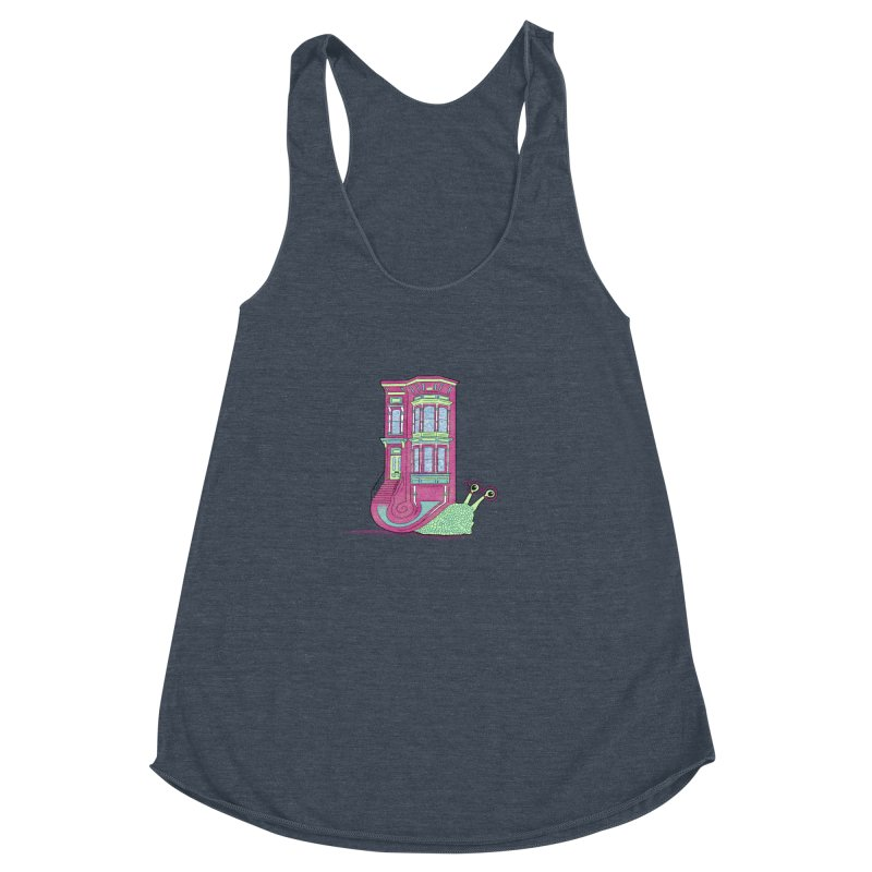 Townhouse Snail Women's Racerback Triblend Tank by The Art of Rosemary