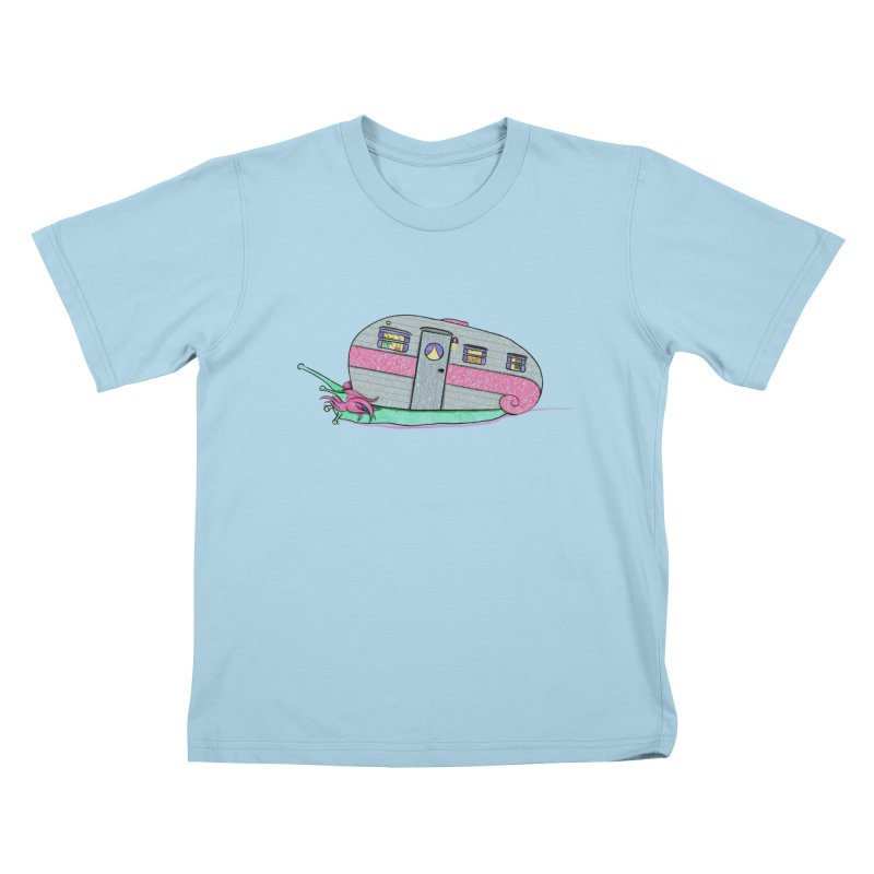 Trailer Snail Kids T-Shirt by The Art of Rosemary