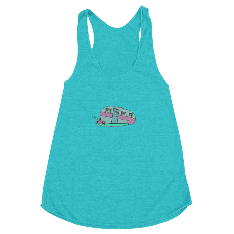 Trailer Snail Women's Racerback Triblend Tank by The Art of Rosemary