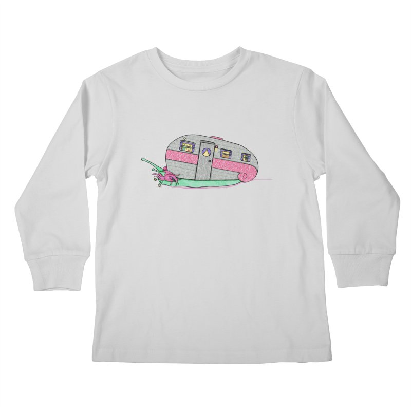 Trailer Snail Kids Longsleeve T-Shirt by The Art of Rosemary