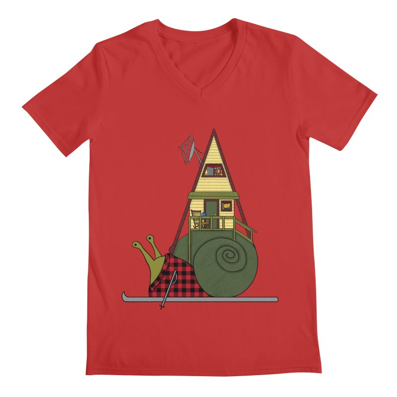 A-Frame Snail Men's Regular V-Neck by The Art of Rosemary