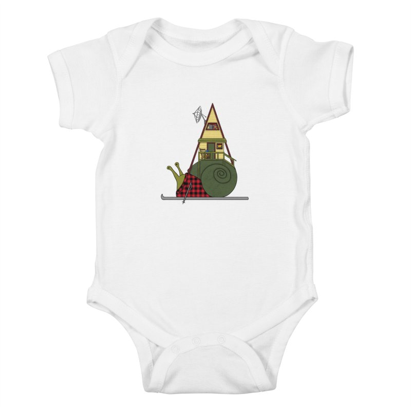 A-Frame Snail Kids Baby Bodysuit by The Art of Rosemary